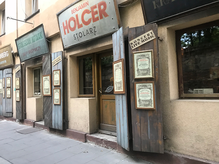 Original store front signage in Jewish part of downtown Krakow