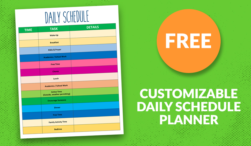 Free Customizable Daily Schedule